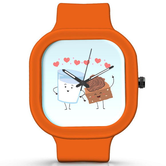 Unisex Men And Women Wrist Watch India |  Cake And Milk Cute Illustration  Silicone Square Unisex Wrist Watch Online India
