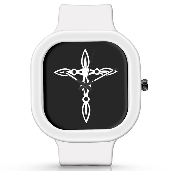 Unisex Men And Women Wrist Watch India |  Cross Minimal Illustration   Silicone Square Unisex Wrist Watch Online India