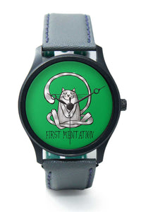 Wrist Watches India |First Meditation Cute Yoga Cat Illustration Premium Men Wrist WatchOnline India.