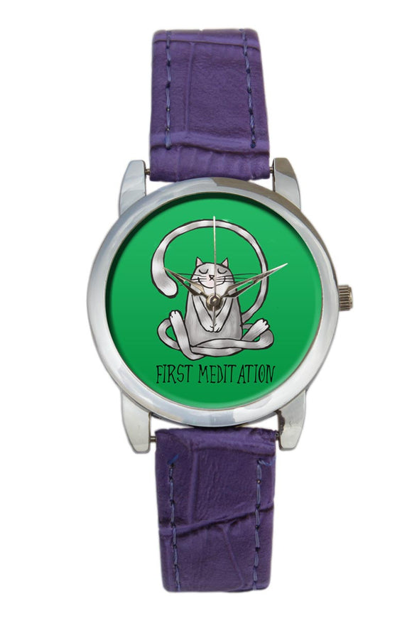First Meditation Cute Yoga Cat Illustration Women Wrist Watch