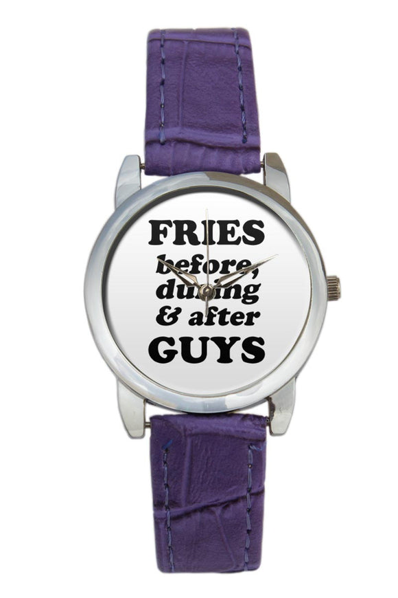 Fries Before During After Guys Typography Women Wrist Watch