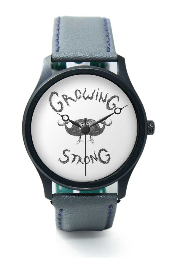 Wrist Watches India |Growing Strong Quirky Moustache Illustration  Premium Men Wrist WatchOnline India.
