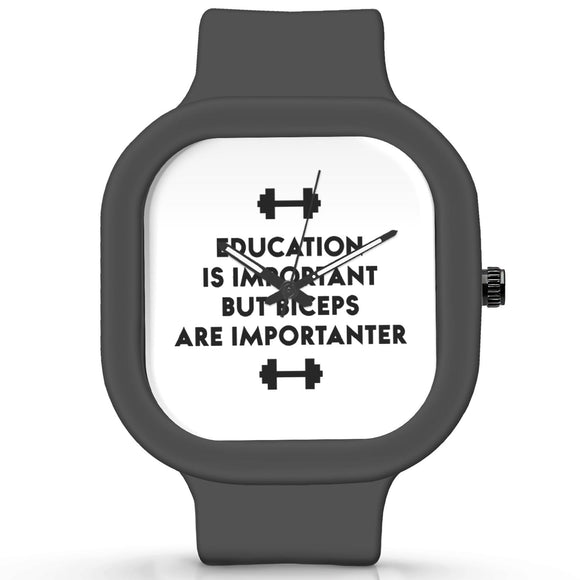 Unisex Men And Women Wrist Watch India | Biceps Are Importanter Gym Quirky Typography Waterproof Silicone Unisex Wrist Watch For Men And Women  Online India