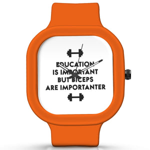 Unisex Men And Women Wrist Watch India |  Biceps Are Importanter Gym Quirky Typography   Silicone Square Unisex Wrist Watch Online India