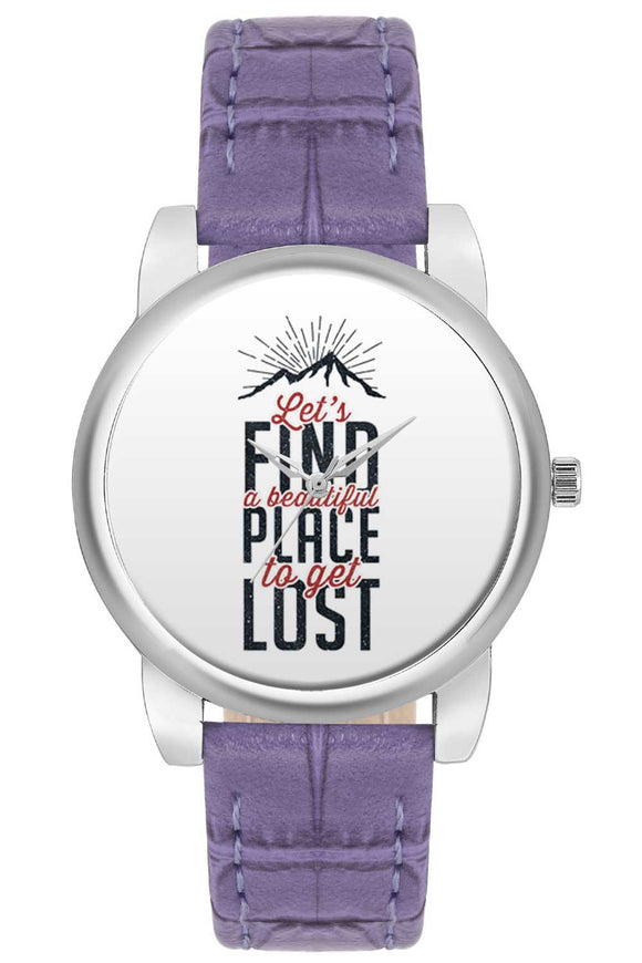 Lets Find A Beautiful Place To Get Lost Typography  Women Wrist Watch