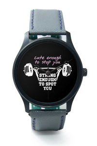 Wrist Watches India |Strong Barbell Curl Quirky Quote Premium Men Wrist WatchOnline India.