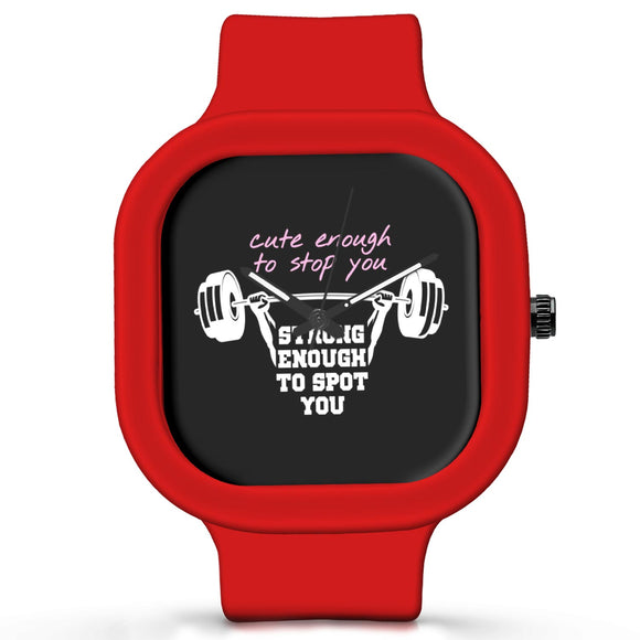 Unisex Men And Women Wrist Watch India |  Strong Barbell Curl Quirky Quote   Silicone Square Unisex Wrist Watch Online India