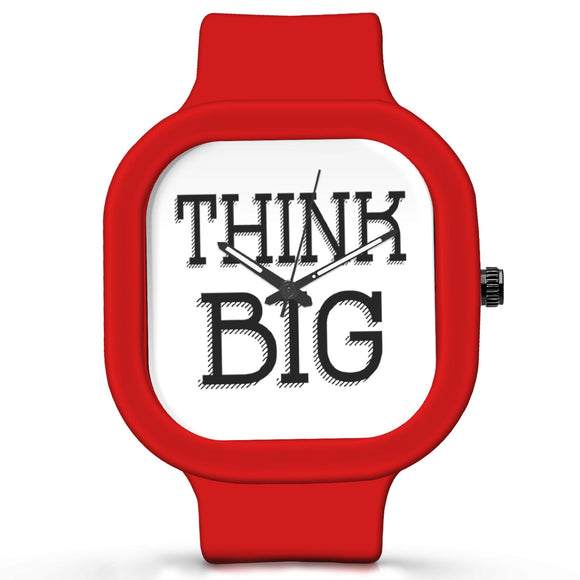 Unisex Men And Women Wrist Watch India |  Think Big Motivational Quote   Silicone Square Unisex Wrist Watch Online India