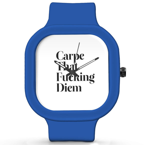 Unisex Men And Women Wrist Watch India |  Carpe That Fucking Diem Analog  Silicone Square Unisex Wrist Watch Online India