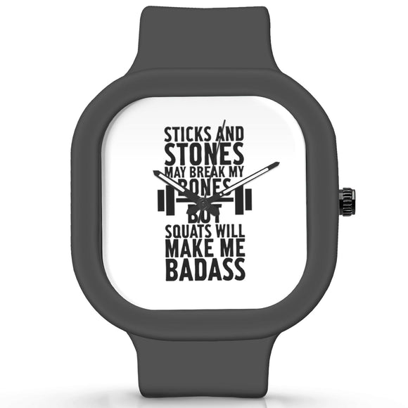 Unisex Men And Women Wrist Watch India |  Squats Will Make Me Badass Typography Analog  Silicone Square Unisex Wrist Watch Online India