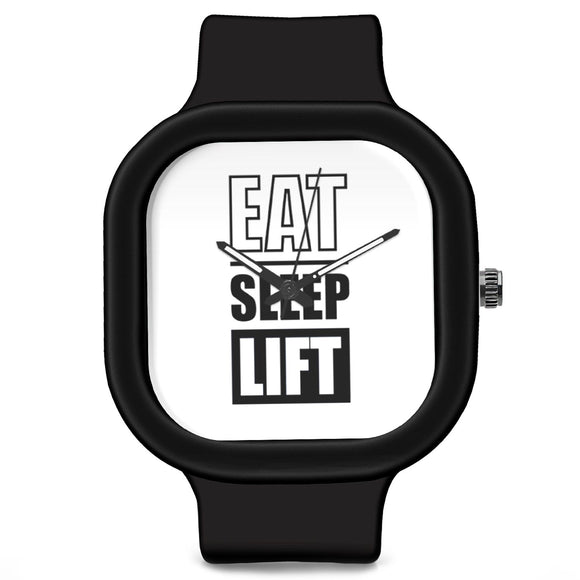Unisex Men And Women Wrist Watch India |  Eat Sleep Lift Typography Analog  Silicone Square Unisex Wrist Watch Online India