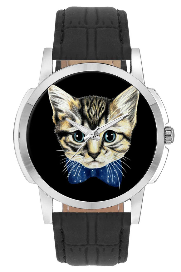 Wrist Watches India | Cute Cat Face Illustration Wrist Watch Online India.