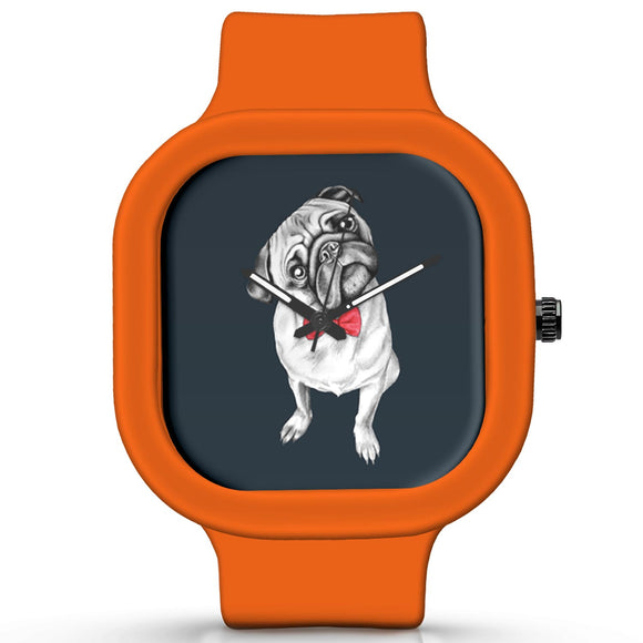 Unisex Men And Women Wrist Watch India | Cute Pug Illustration Analog Waterproof Silicone Unisex Wrist Watch For Men And Women  Online India