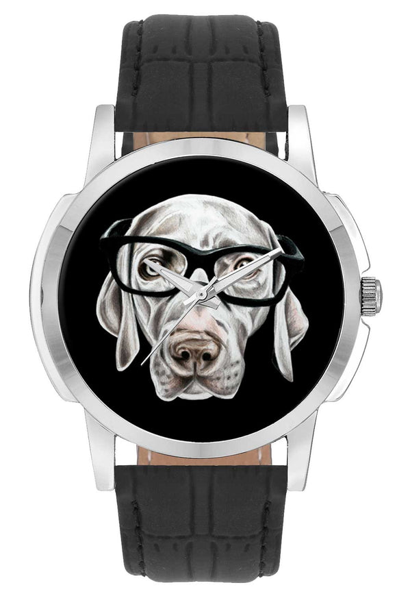 Wrist Watches India | Nerdy Dog Face Illustration Wrist Watch Online India.