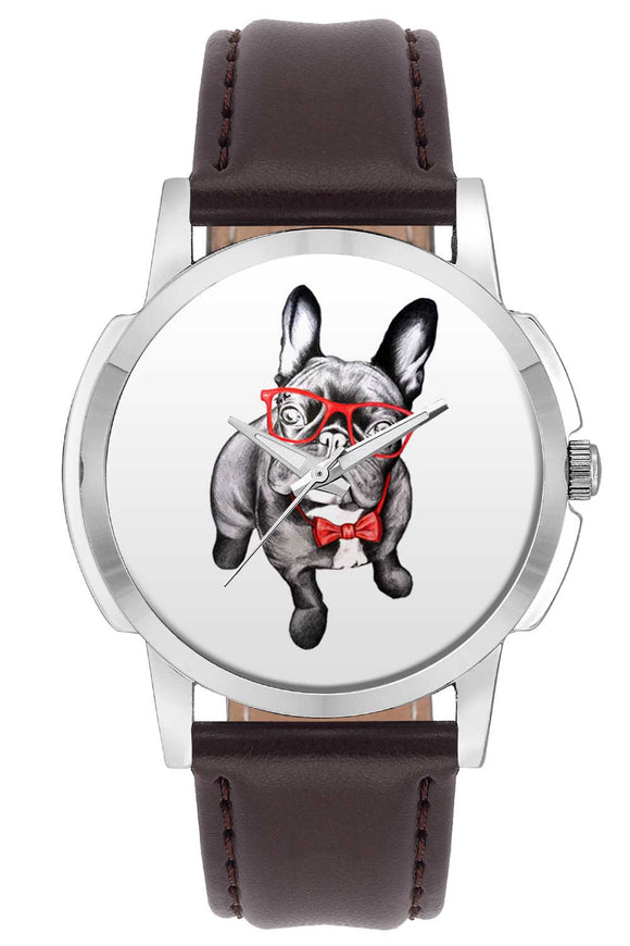 Wrist Watches India | Nerdy Bull Dog Illustration Wrist Watch Online India.