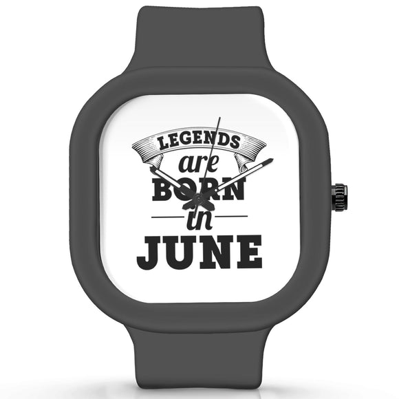 Unisex Men And Women Wrist Watch India |  Legends are Born In June Analog  Silicone Square Unisex Wrist Watch Online India