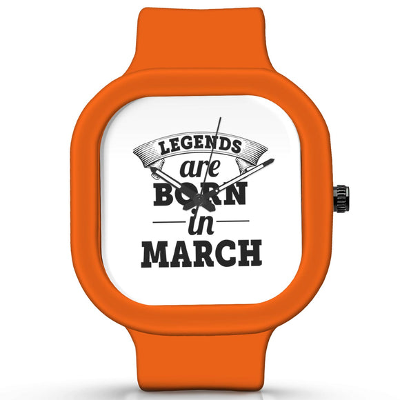 Unisex Men And Women Wrist Watch India |  Legends are Born In March Analog  Silicone Square Unisex Wrist Watch Online India