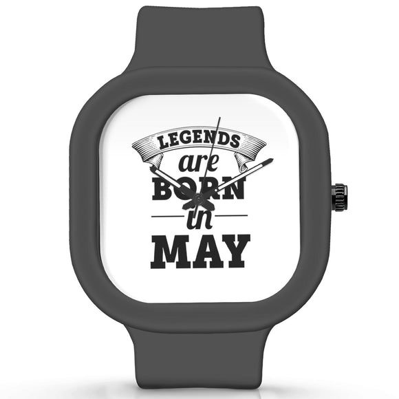 Unisex Men And Women Wrist Watch India |  Legends are Born In May Analog  Silicone Square Unisex Wrist Watch Online India
