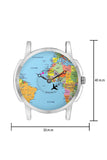 Travel Watch   Airplane World Map Design Leather Strap Casual Wrist Watch Online India