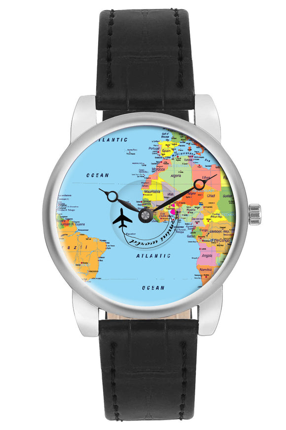 Airplane Travel World Map Design Leather Strap Casual Wrist Watch for Women - Gifts for travellers