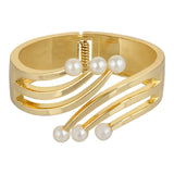Entice Selections Unique Gold Smooth Finish Bangle Bracelet With White Pearl For Women And Girls
