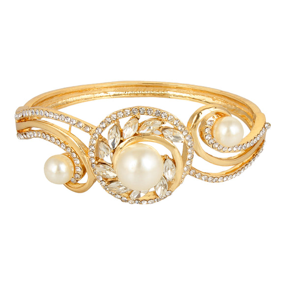 Entice Selections Crystal Charm Gold Bangle Bracelet For Woman And Girls