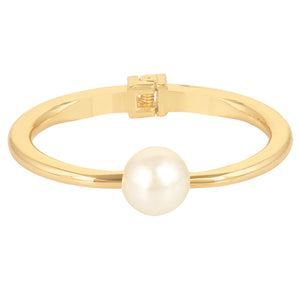 Entice Selections Shining Gold Kada Bracelet With White Pearl For Women And Girls