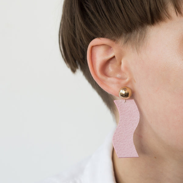 Recycled Leather Statement Earrings - Pink + Gold