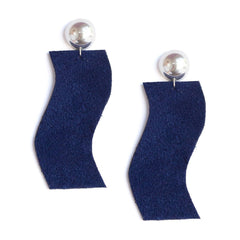 Recycled Statement Earrings - Navy + Silver