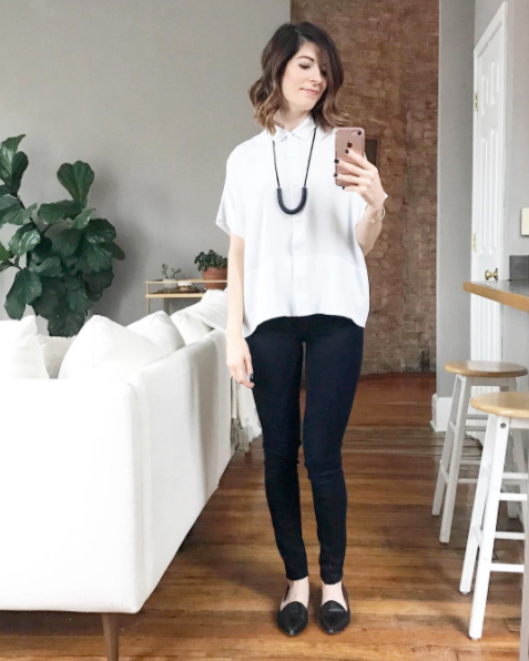 The Hildi Necklace by ONE SIX FIVE Jewelry in Black styled with black and white outfit
