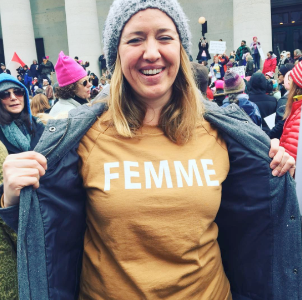 Femme Sweatshirt by Working Girls being worn at the Columbus Women's March