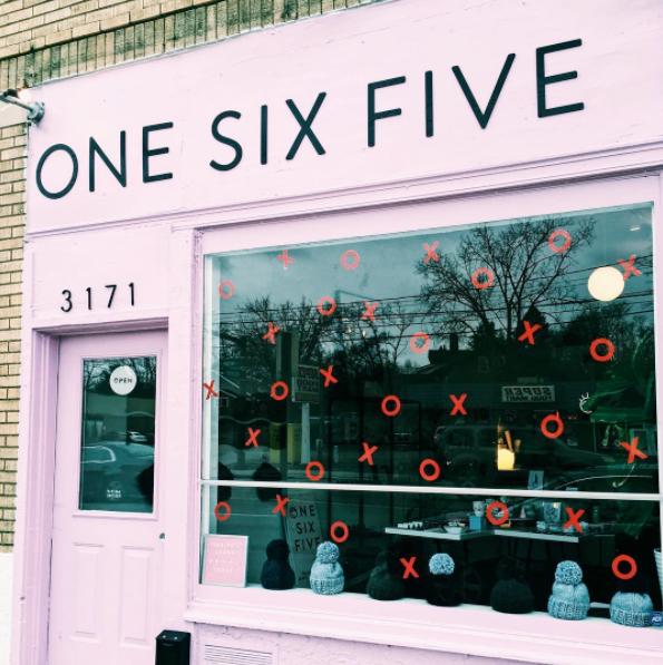 ONE SIX FIVE Jewelry Storefront decorated for February at 3171 N High Street Clintonville, OH