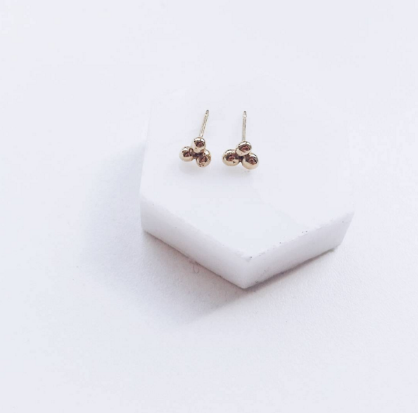 triple fleck minimal earring stud at Little gold in Canada