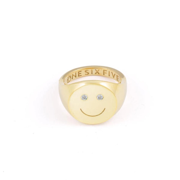 smiley signet ring happy smile gold plated brass topaz trendy