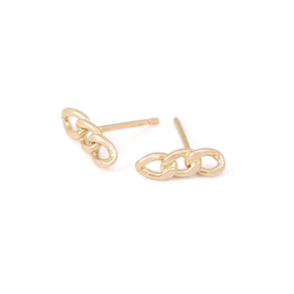 chain trendy stud earring gold filled 14k handmade earrings