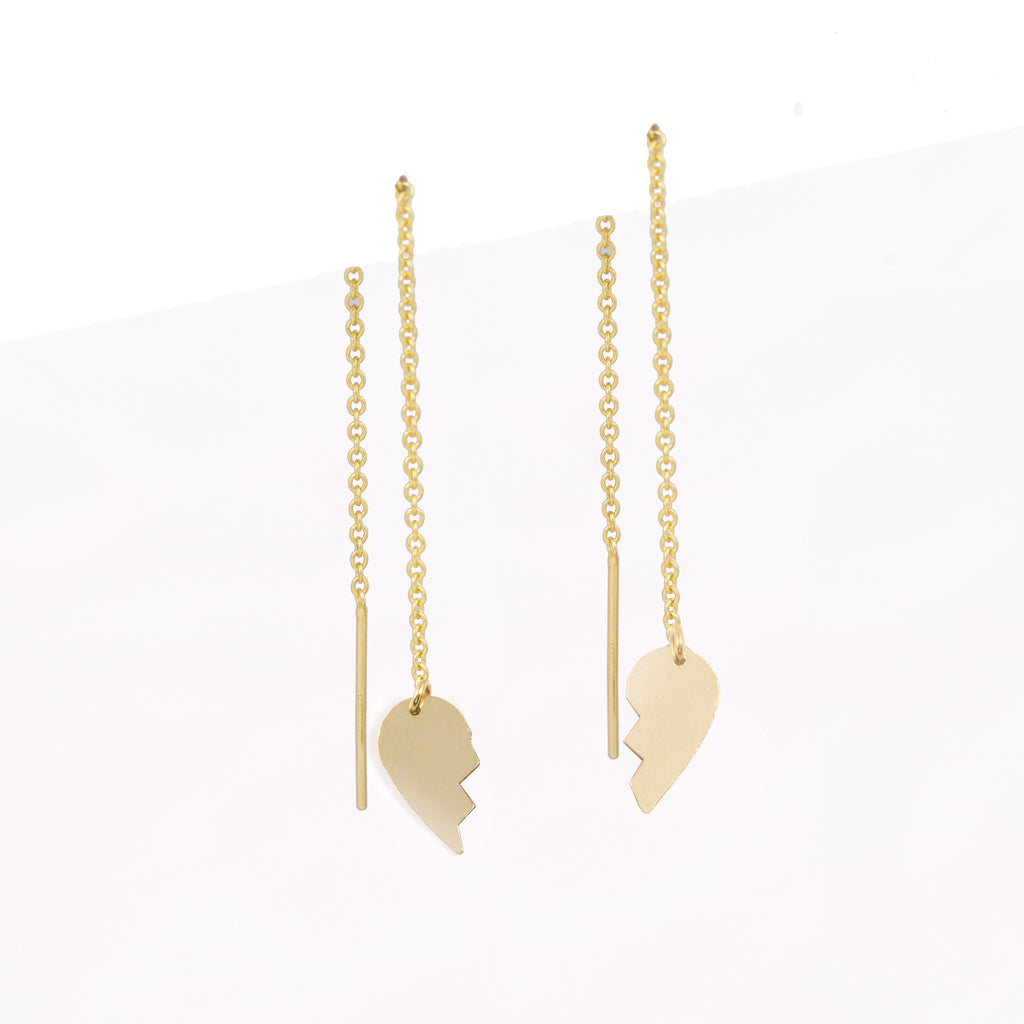 best friend bff dangle heart threader mismatched gold filled modern earrings