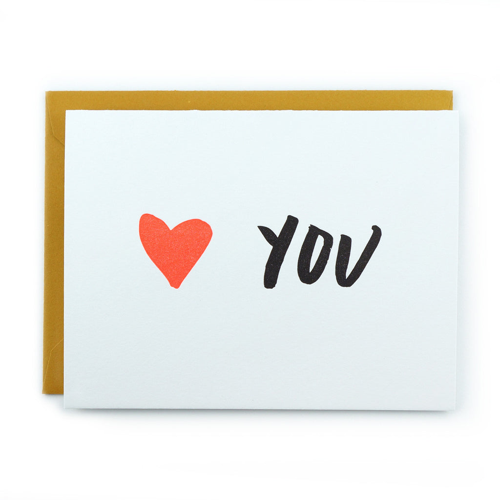 and here we are handprinted letterpress heart you love you card