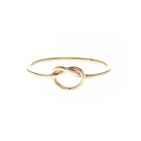 gold filled sterling silver pretzel love knot promise stacking ring