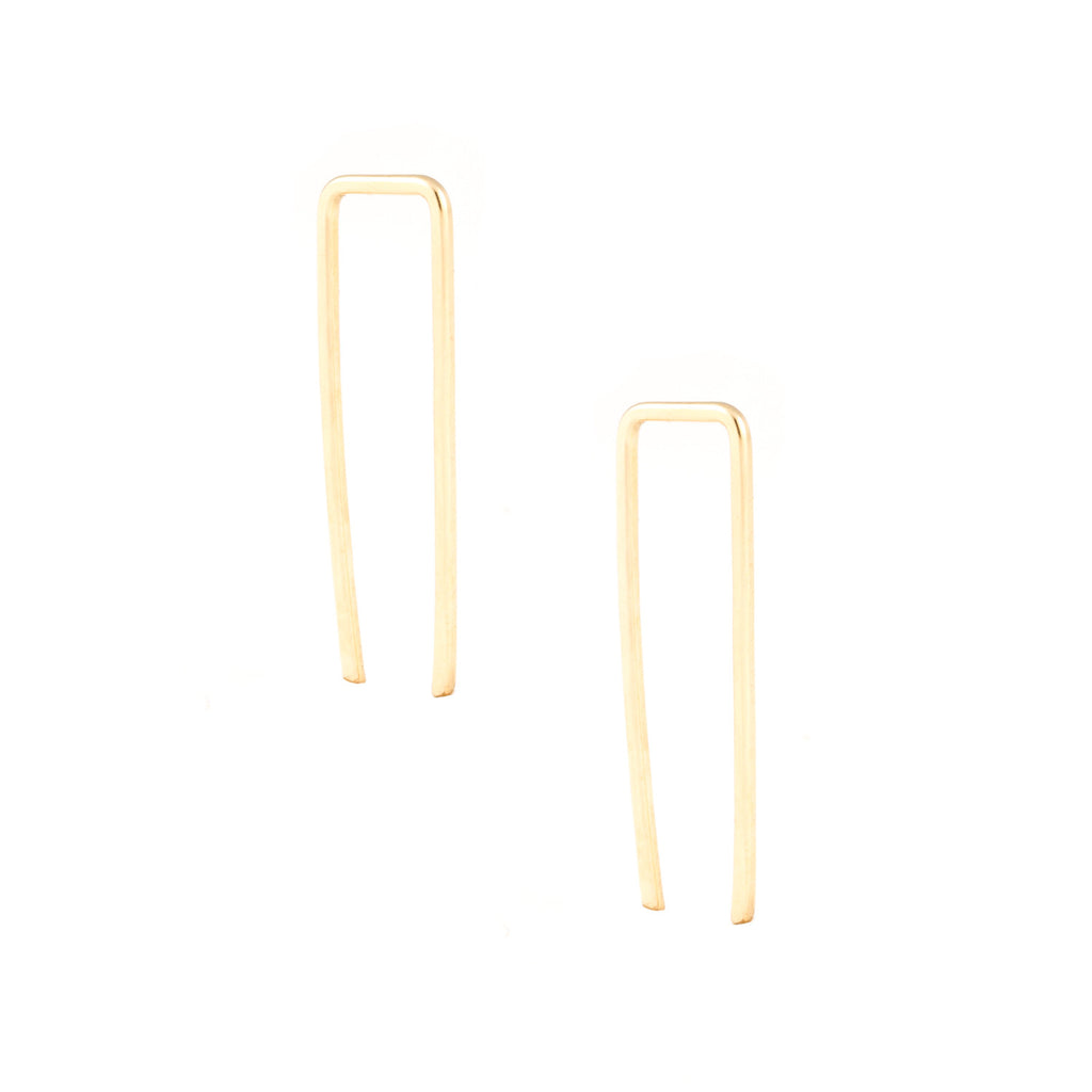 gold filled sterling silver bar ear threader crawler climber versatile earrings