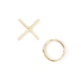 xo love gold filled sterling silver mismatched earrings valentine's day gift