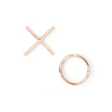 xo love rose gold filled sterling silver mismatched earrings valentine's day gift
