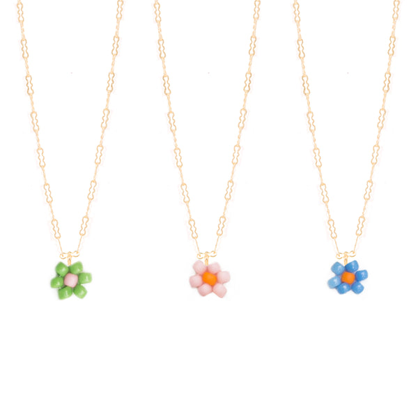 dainty beaded handmade gold filled flower necklace seed beads