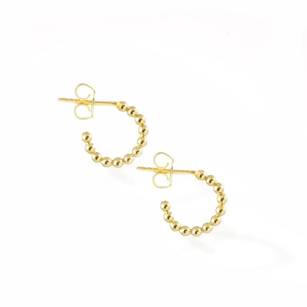minimal texture beaded simple small ear hugger hoops