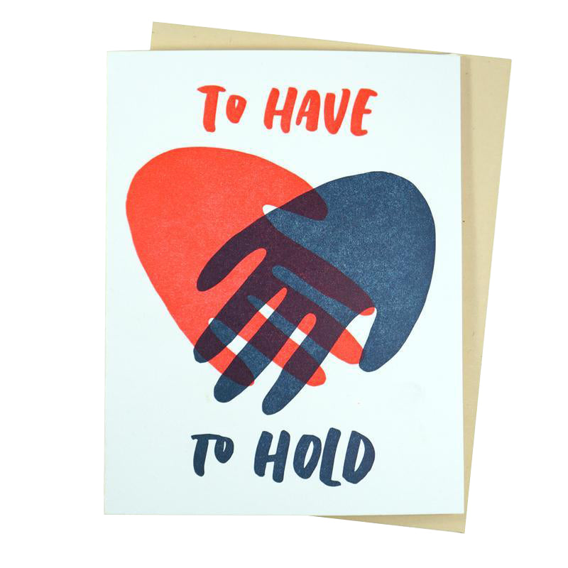 Hand Hold letterpress card | And Here We Are