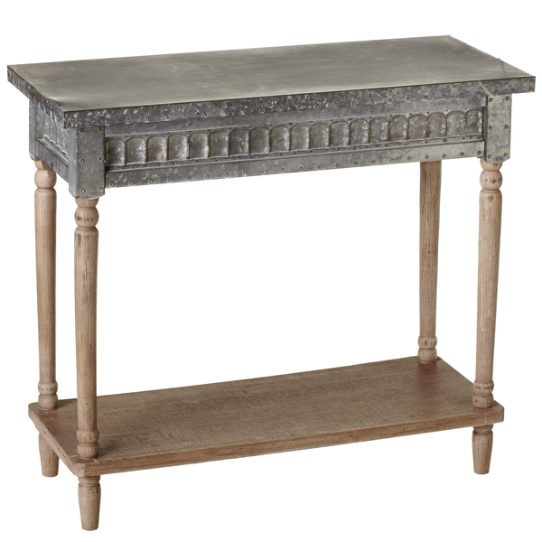 Ganz- Galvanized Console Table with Greywash Legs & Shelf