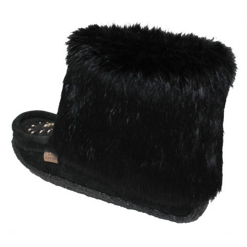 Laurentian Chief-Black Moccasin w/ Fur & Beading #552447