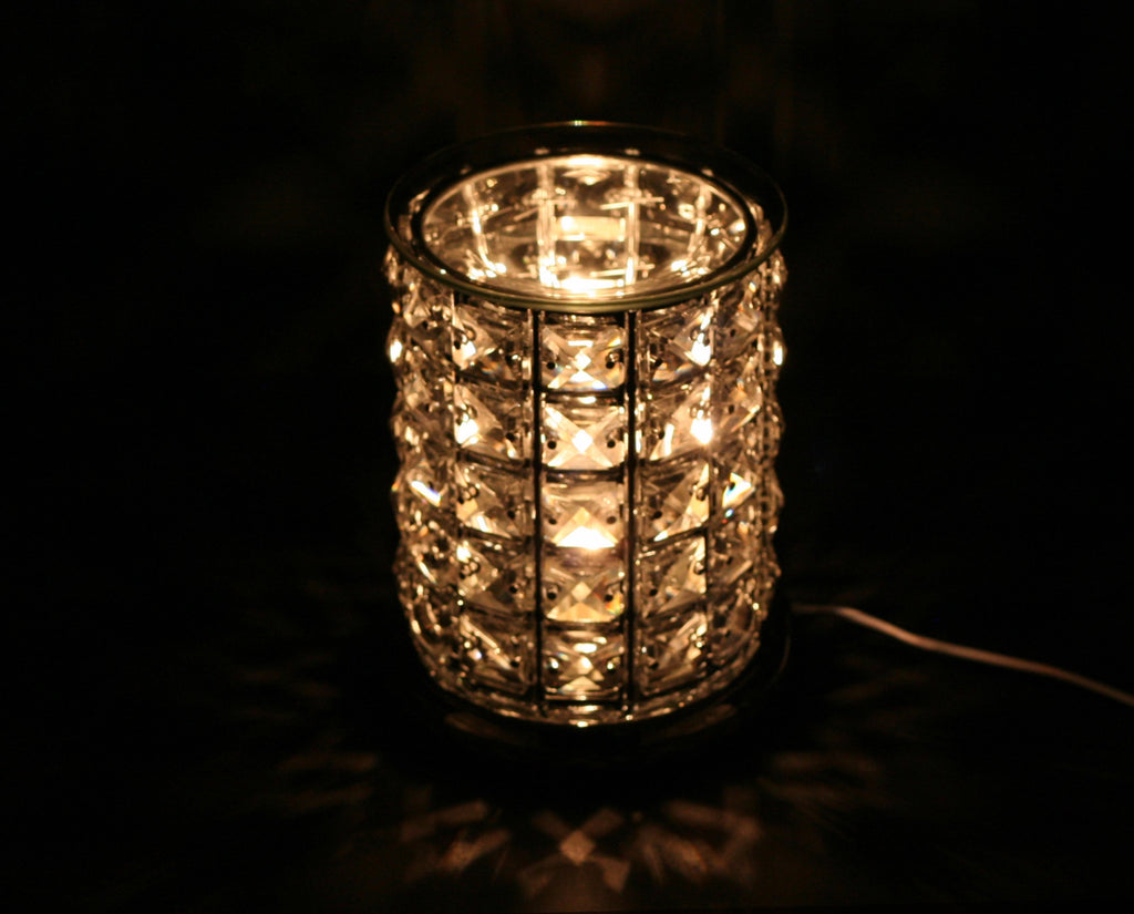Touch Lamp w/Ess Oil/Wax Holder-Silver Mosaic w/ White Glass
