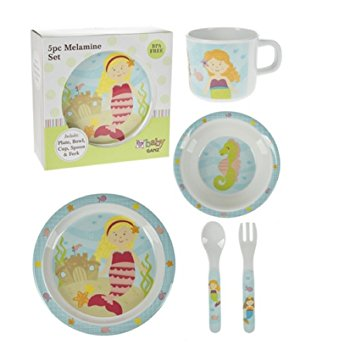 Ganz- 5pc Melamine Kids Dish Set, Sunny Mermaid