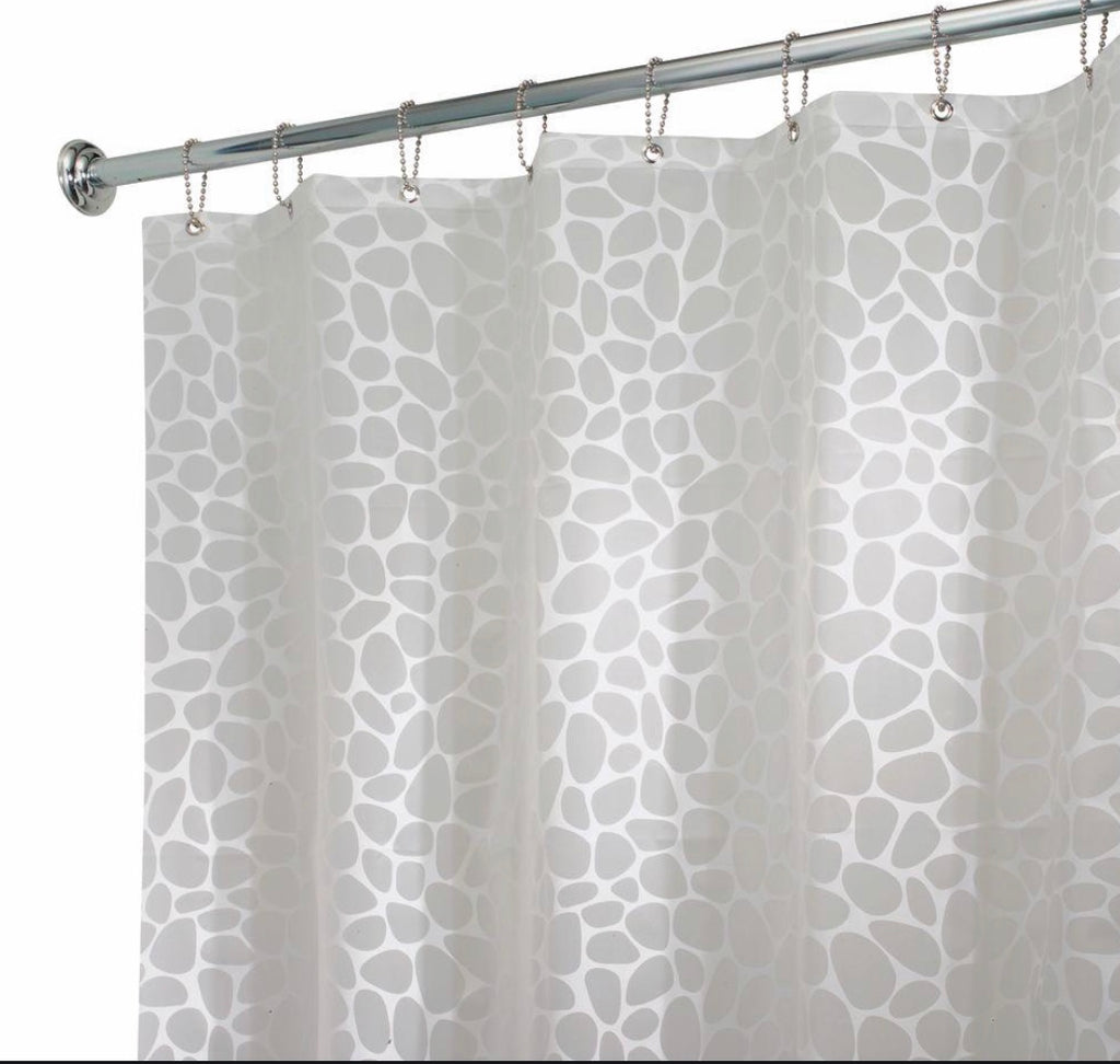 InterDesign- Peva Shower Curtain- White Pebblz
