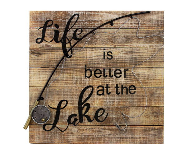 Splash- Wooden Sign, Better At The Lake Fishing Rod